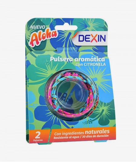 Dexin Pulsera Aloha Rosa y Azul con Citronela
